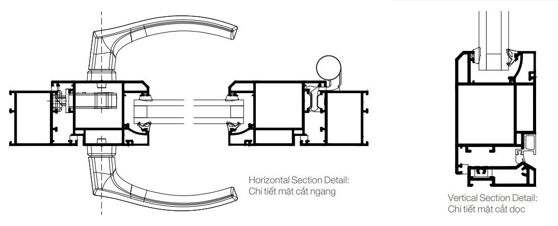 mặt cắt nhôm civro không cầu cách nhiệt HKH WINDOW