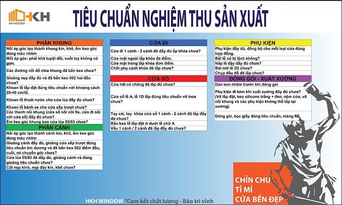 tiêu chuẩn nghiệm thu sản xuất HKH WIndow